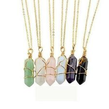 Natural Crystal Quartz Healing Point Chakra Pendant Gemstone Charms Necklace