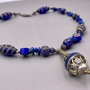 Vintage Bali Lapis Cloisonne Beaded Sterling Silver Necklace 18'
