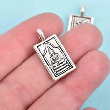 4 THAI BUDDHA charm pendants, antique silver, rectangle relic 26mm, chs2905