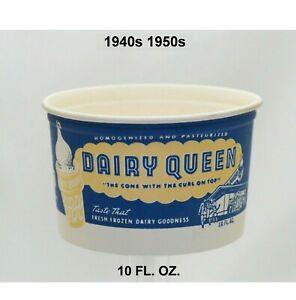 Vintage 40s / 50s Dairy Queen 10 FL. OZ. Wax Paper Cup  hard to find MINT NOS