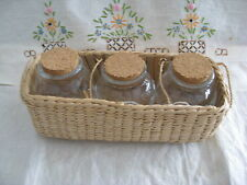 3 Spice Bottle Set Round Clear Glass w/ Corks Woven Nat Reed Holder Basket EUC