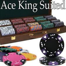 New Holdem Poker Chip Set 500 Count Ace King Suited 14g Walnut CaseCards Dice