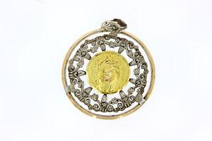8711-750er Gelbgold m 925er Silber anhänger durchmesser 4 cm Gewicht 10,7 Gramm