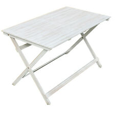 Tavolo pieghevole in acacia White Old 120x70cm bianco arredo esterno AC805041