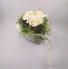 Tischgesteck Herz Keramik Hochzeit Kommunion Taufe Tischdeko Dekoration Rosen