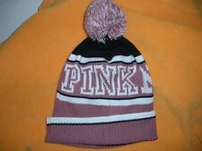 VICTORIA'S SECRET PINK BEANIE HAT CAP PINK NATION POM POM NWT SNOWBOARDING