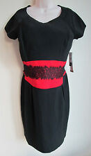 Vintage Danny & Nicole Black & Red with Lace Holiday Dress, New York Size 12 NWT