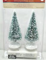 Lemax Village Collection Lighted Shimmering Bristle Trees Set Of 2 (Two) NEW