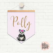 HANGER & PENDANT NAME FLAG PRINT MODERN  NURSERY DECOR Panda Personalised