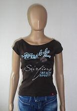 Damen Tshirt braun & türkiser Schriftzug - edc Esprit - Größe XS - gebraucht TOP