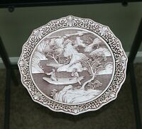1980's Arnart Imports Ivory Dynasty Relief Carved Resin Plate