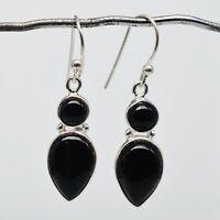 925 Sterling Silver Black Onyx Gemstone Earrings Jewelry 3.12 gms jewelry CCI