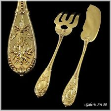 """ODIOT : Antique French Vermeil Sterling Silver """"COMPIEGNE"""" Fish Serving Set 2pc"""