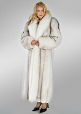 Genuine Natural Blue Fox Fur Coat with Natural White Fox Collar Length 52""