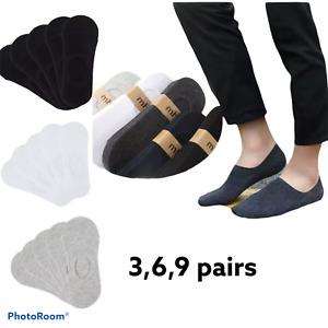 pack 3,6,9 pairs Men Women Ladies Invisible Socks Short Trainer Shoe Liner Sock