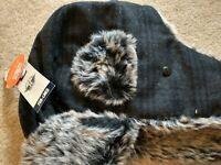 Docker's Fur Lined Men's Hat, NWT, Sz S/M, Grey/Black Plaid w/Fur Lining
