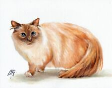 Original Oil Portrait Painting Art Birman Lilac Point Signed Artwork Cat Kitten
