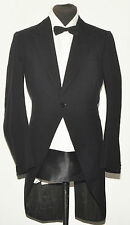 "VINTAGE WELSH & JEFFERIES TWILL WOOL BLACK FROCK COAT 38"" LONG 1960s"