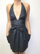 CAMILLA & MARC black halter neck tie waist sleeveless dress sz 8 blossom frock