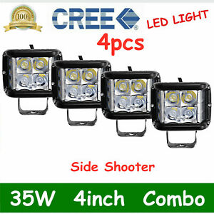 4X 4''in 35W Work Cube Side Shooter LED Light Combo Driving Fogs Bumper Pods ATV
