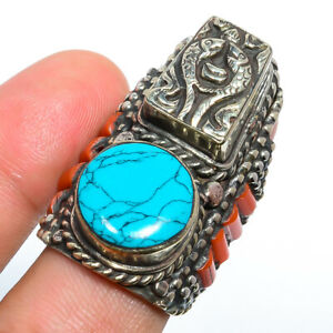 Turquoise & Red Coral Antique Silver Handmade Tibetan Ring s.8 LAR-810