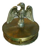 Vintage Brass Eagle Hidden Swivel Magnifying Glass Loop Desktop Paperweight