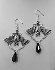 Hanging bats, gothic, halloween earrings Gift, Silver Jewelry