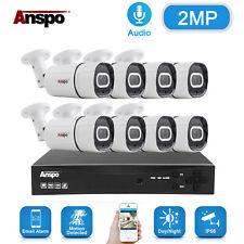 Anspo 8Ch Dvr 1080P Ahd Cctv Ir Security Camera System Audio Video Surveillance