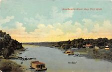 E6/ Bay City Michigan Mi Postcard 1913 Kawkawlin River Scene House Boats