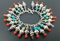 "Vintage Sterling Silver 925 Natural Turquoise Red Coral Loaded Charm Bracelet 7"""