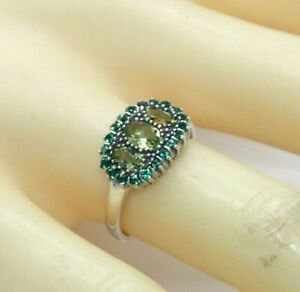 Ring Peridot & Emerald Synth. 925er Silver #51