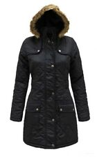 NEW Girls Quilted Fur Hood Parka Jacket Coat School Black Age 7 8 9 10 11 12 13