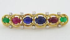 David Webb 18K / Platinum Cabochon Sapphire Ruby Emerald & Diamond Brooch / Pin