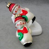 Christmas Ornament Glass SNOWMAN YI Knit Cap Vest Lot of 2 RANA'S USA SELLER