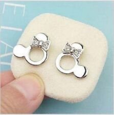 Silver coloured Mickey / Minnie head stud earrings