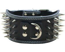 """3"""" Wide Leather 4 Rows Spiked Studded Dog Collar for Pitbull Terrier Size M L XL"""