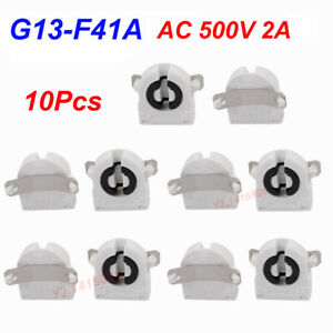 10Pcs AC 500V 2A G13-F41A T8 Light Socket G13 Base Fluorescent Lamp Holder White