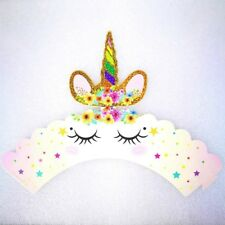 24pcs/set Rainbow Unicorn Cupcake Topper Cake Wrapper for Baby Shower Cake Decor
