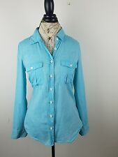 J. Crew Women's The Perfect Shirt  Turquoise  Teal Medium Button Down Front