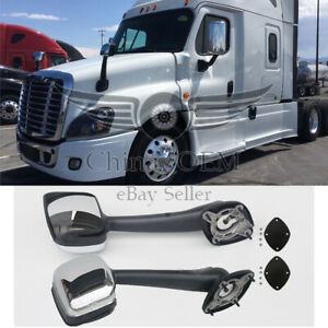 For Freightliner Cascadia 2008-2016 Pair Hood Chrome Mirrors Manual Replacement