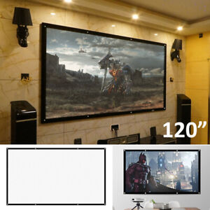 "120"" Inch Projector Projection Screen 16:9 White Matte 3D HD Home Cinema Theater"