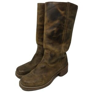 Frye Womens Campus 14L Tall Boots 77050 Sz 9 M Distressed Leather Made In USA