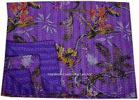 Indian Kantha Quilt Bird Paradise Reversible Bedspread TWIN Size Vintage Decor