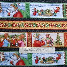 Christmas Fabric - Mouse Polar Bear Holiday Stripe Black Beige - RJR Cotton /Yd