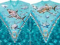 NATURE-GREAT WHITE SHARKS-SHARK-2 SIDED TIE DYE TSHIRT M-L-XL-XXL