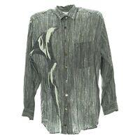 Herren Langarmhemd Größe L Freizeit Shirt Vintage Retro Muster Grau