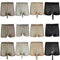 Men Open /Closed Penis Sheath Boxer Briefs Shorts Underwear Lingerie See-through