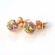 18k Yellow Gold Filled Earrings Charm 8mm Ball Multi CZ Stud GF Fashion Jewelry
