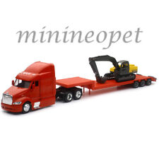 NEW RAY SS-15133D LONG HAUL TRUCKER PETERBILT MODEL 387 LOW BOY w EXCAVATOR 1/43