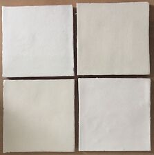4 Fired Earth square white wall tiles, handmade with crazing